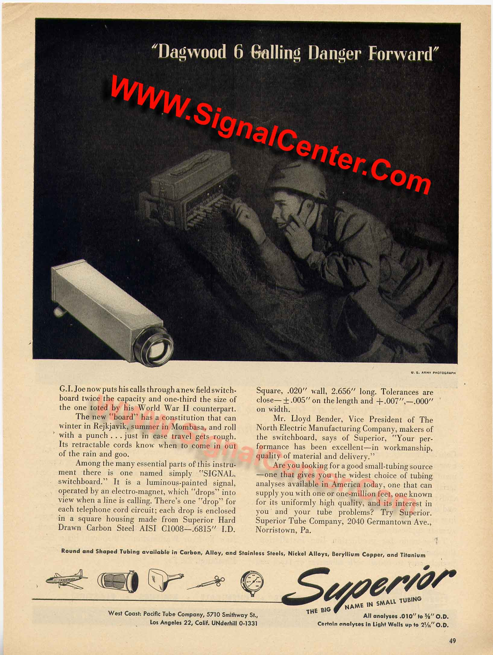 Advertisement for the SB-22/PT Switchboard Magneto Signal Drop