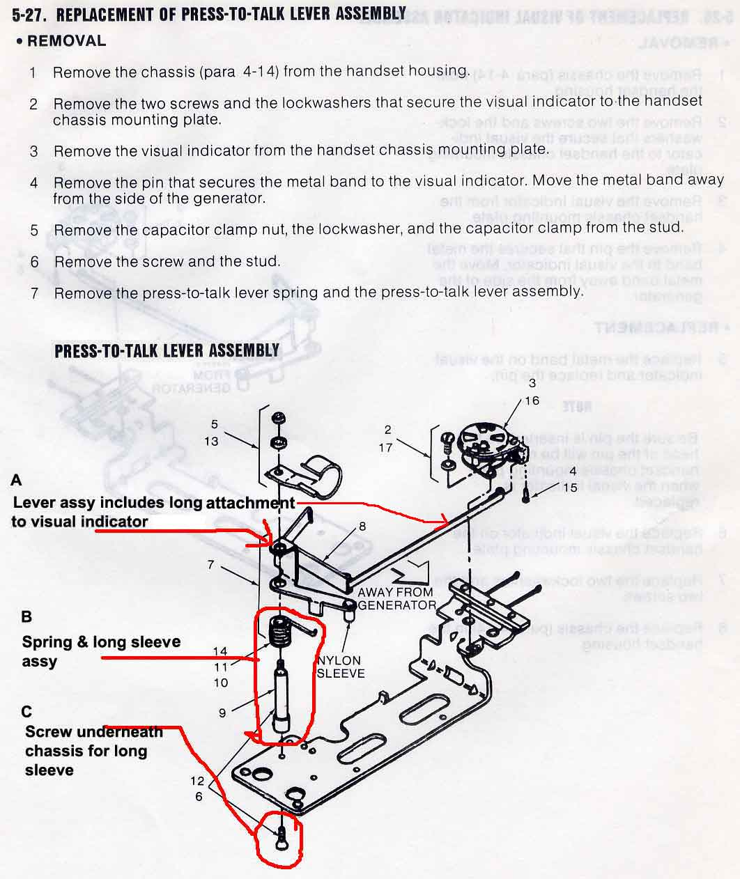 Pust to Talk lever assembly instructions