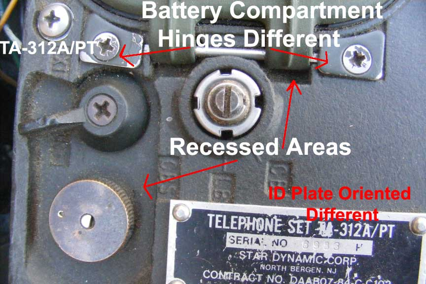 TA-312A/PT recessed areas Battery Compartment Area